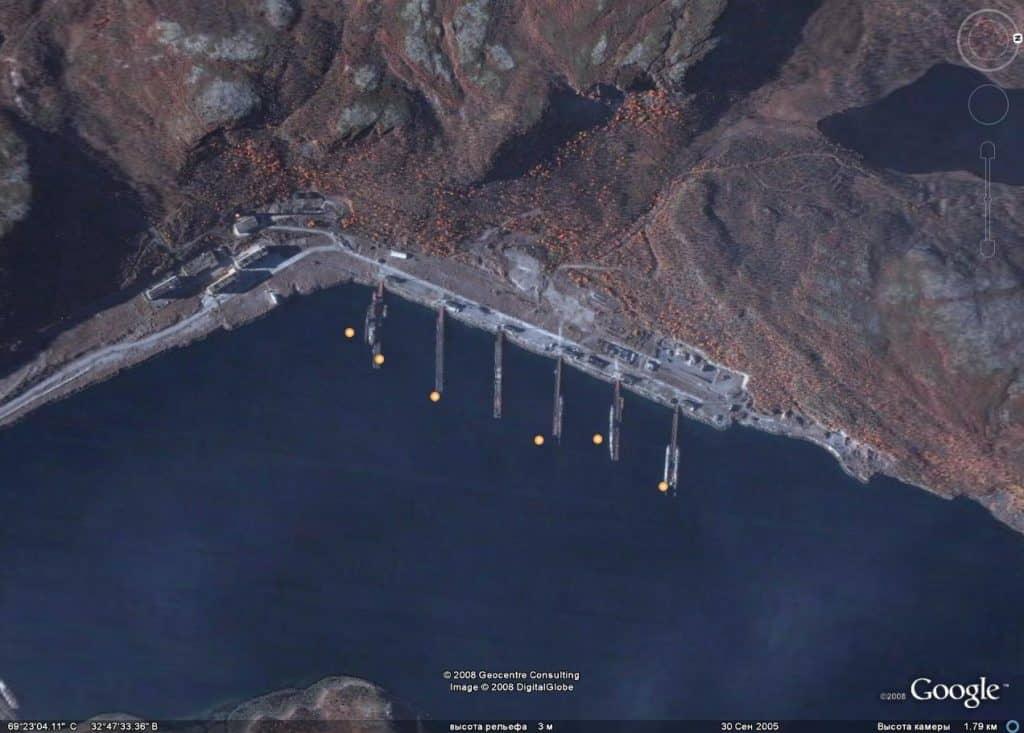 Ара-Губа на спутниковых снимках, сентябрь 2005 года, 7 дивизия