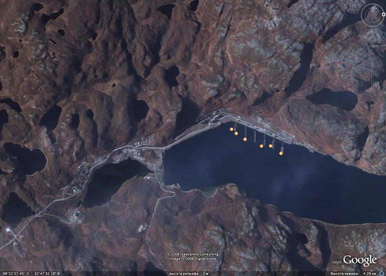 Ара-Губа на спутниковых снимках, сентябрь 2005 года